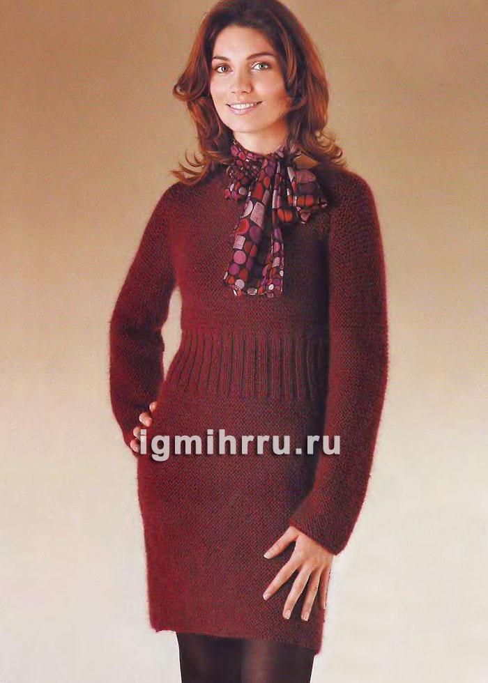 Теплое платье с резинкой по талии. Вязание спицами