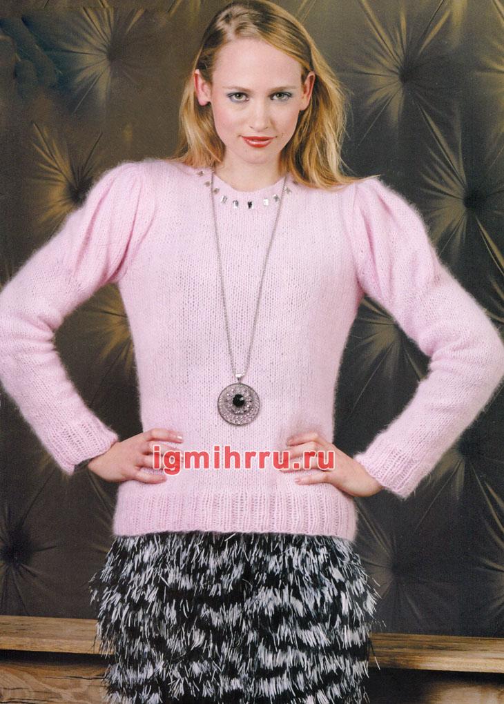 Розовый теплый джемпер с рукавами буф. Вязание спицами