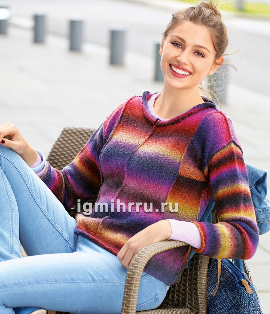 Разноцветный теплый пуловер с внешними швами. Вязание спицами