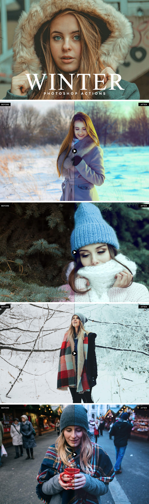 50 Winter Photoshop Actions Bundle