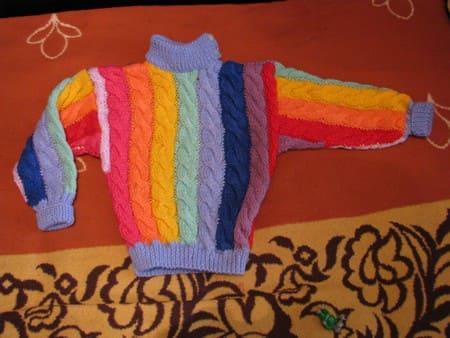 Вяжем свитер для мальчика 4 лет из остатков пряжи Описание схема