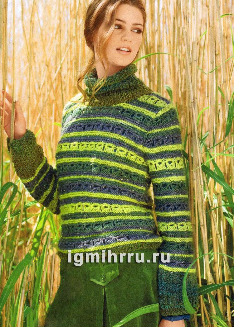 Полосатый пуловер с фантазийным узором. Вязание спицами