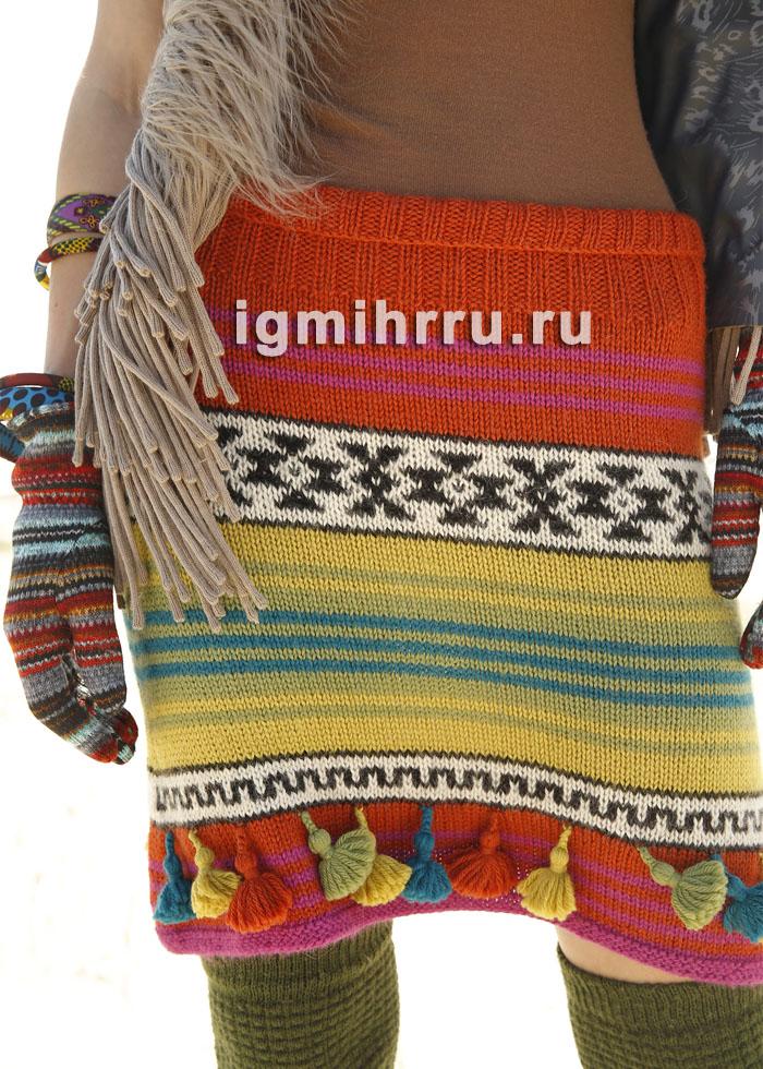 Шерстяная юбка с полосами и жаккардовыми узорами. Вязание спицами