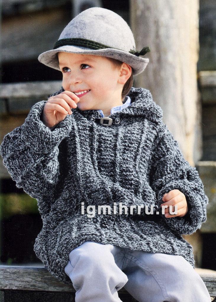 Для мальчика 2-8 лет. Серый меланжевый пуловер с отложным воротником. Вязание спицами