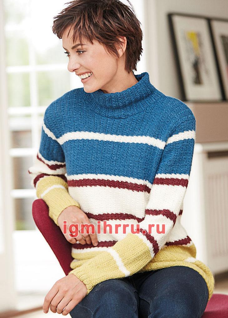 свитер в полоску со структурным узором вязание спицами обсуждение