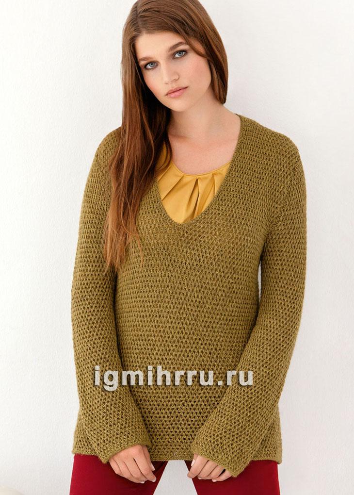 Для пышных дам. Оливковый пуловер с узором из снятых петель. Вязание спицами