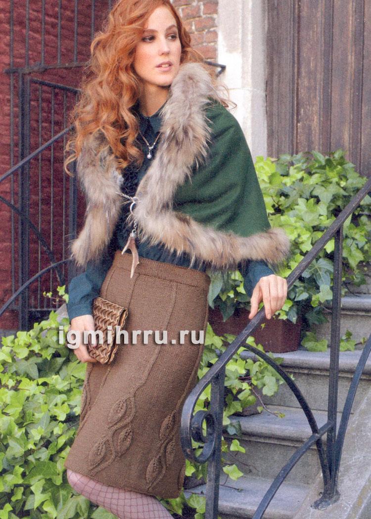 Шерстяная юбка с узором из листьев. Вязание спицами