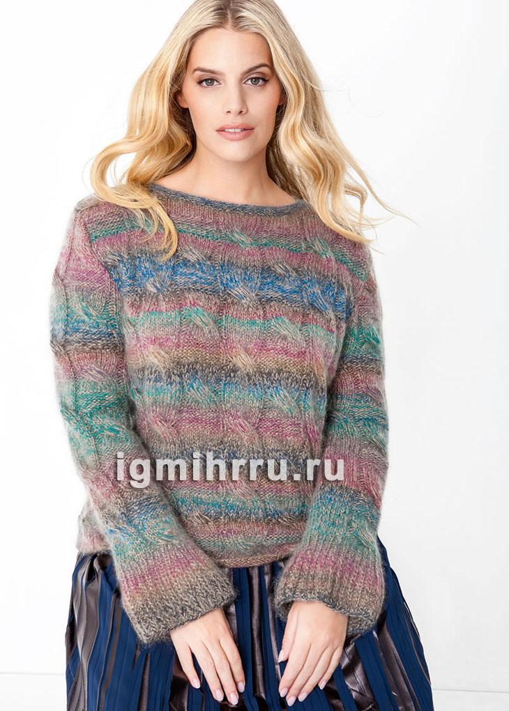 Для полных дам. Пуловер из пряжи с эффектом деграде и косами. Вязание спицами