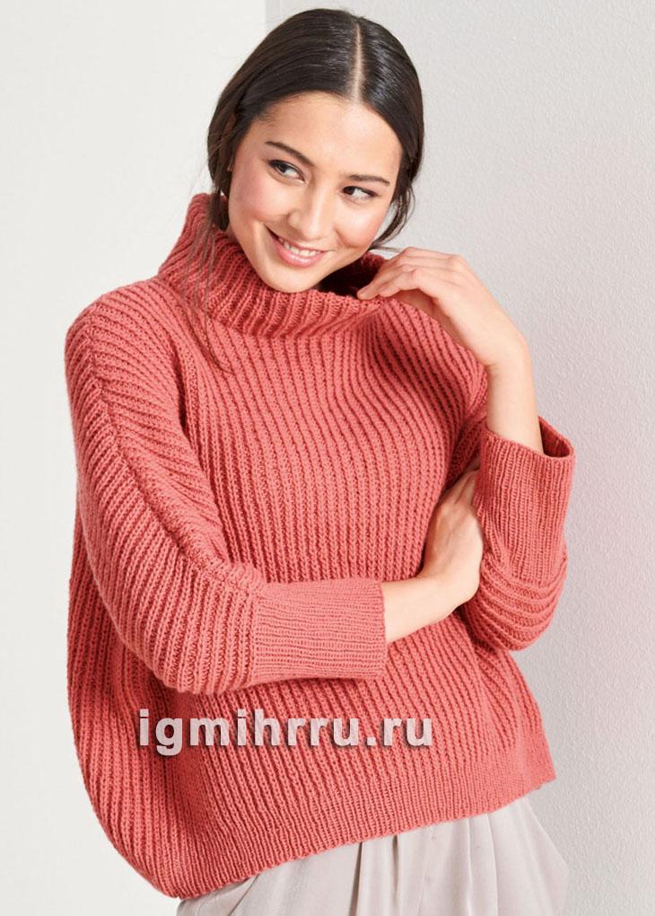 Красный свитер из полупатентного узора. Вязание спицами