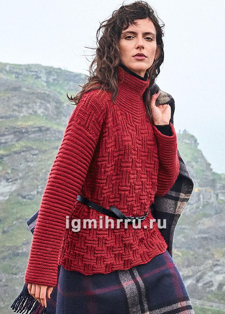Рельефный красный свитер с высоким воротником. Вязание спицами