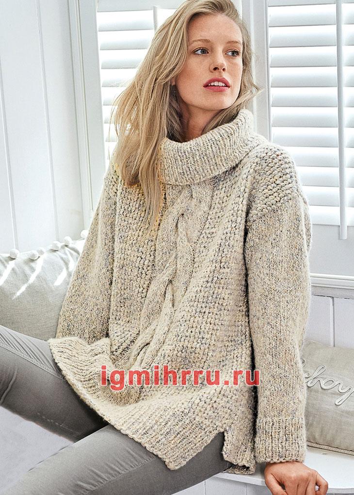 Светлый свитер с крупной центральной косой. Вязание спицами