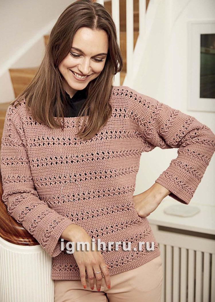 Пуловер с горизонтальными ажурными полосами. Вязание крючком