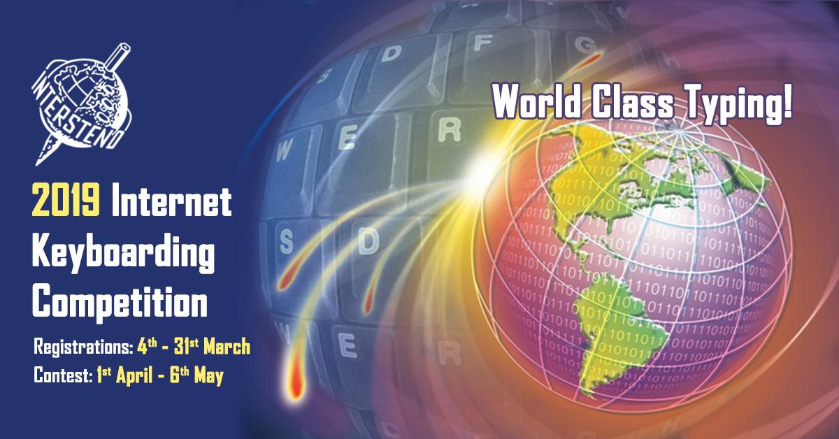 Intersteno Internet Contest 2019 Официальный плакат XVII мировых Интернет-соревнований Intersteno на скорость и качество набора текста на компьютере