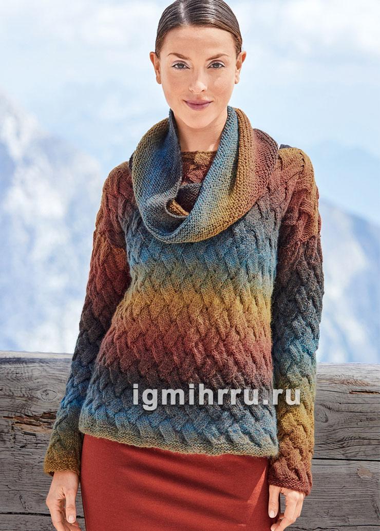 Пуловер с плетеным узором и шарф-петля из пряжи секционного крашения. Вязание спицами