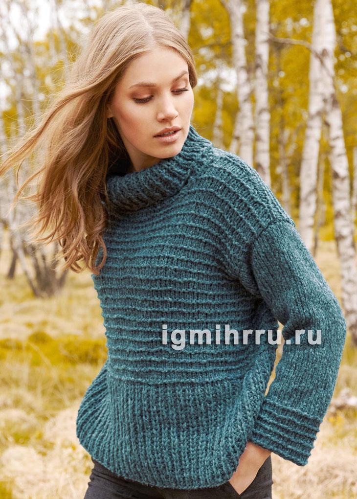 Бирюзовый свитер с полупатентным и поперечным узорами. Вязание спицами