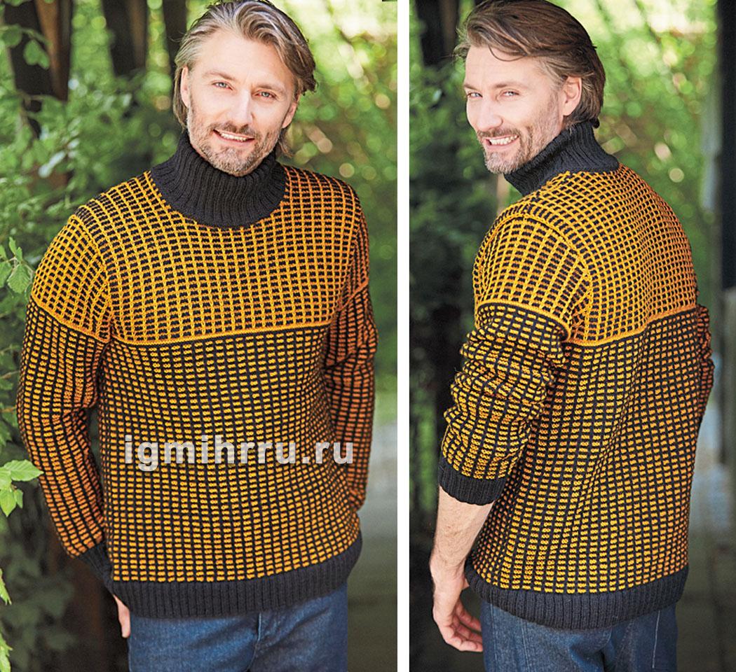 07ab9ef5c86b Мужской свитер со структурным узором. Вязание спицами