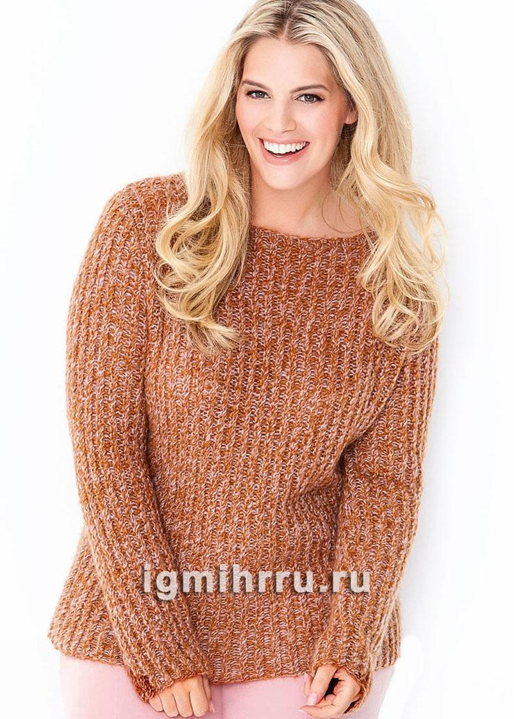 Для пышных дам. Теплый пуловер с мелкими косами. Вязание спицами