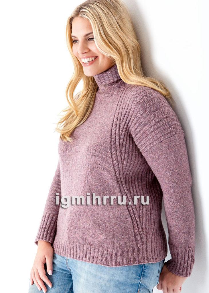 Для полных дам. Розовый свитер с косами. Вязание спицами