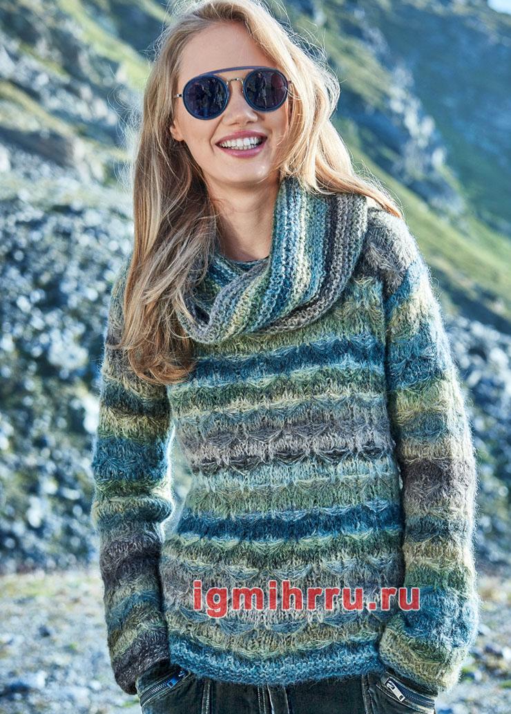 Мягкий пуловер и снуд из пряжи секционного крашения. Вязание спицами