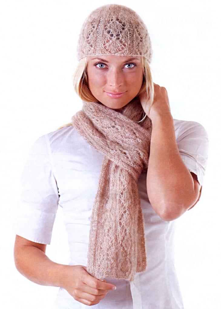 Комплект из шапочки и шарфа с узором ромбы. Вязание спицами
