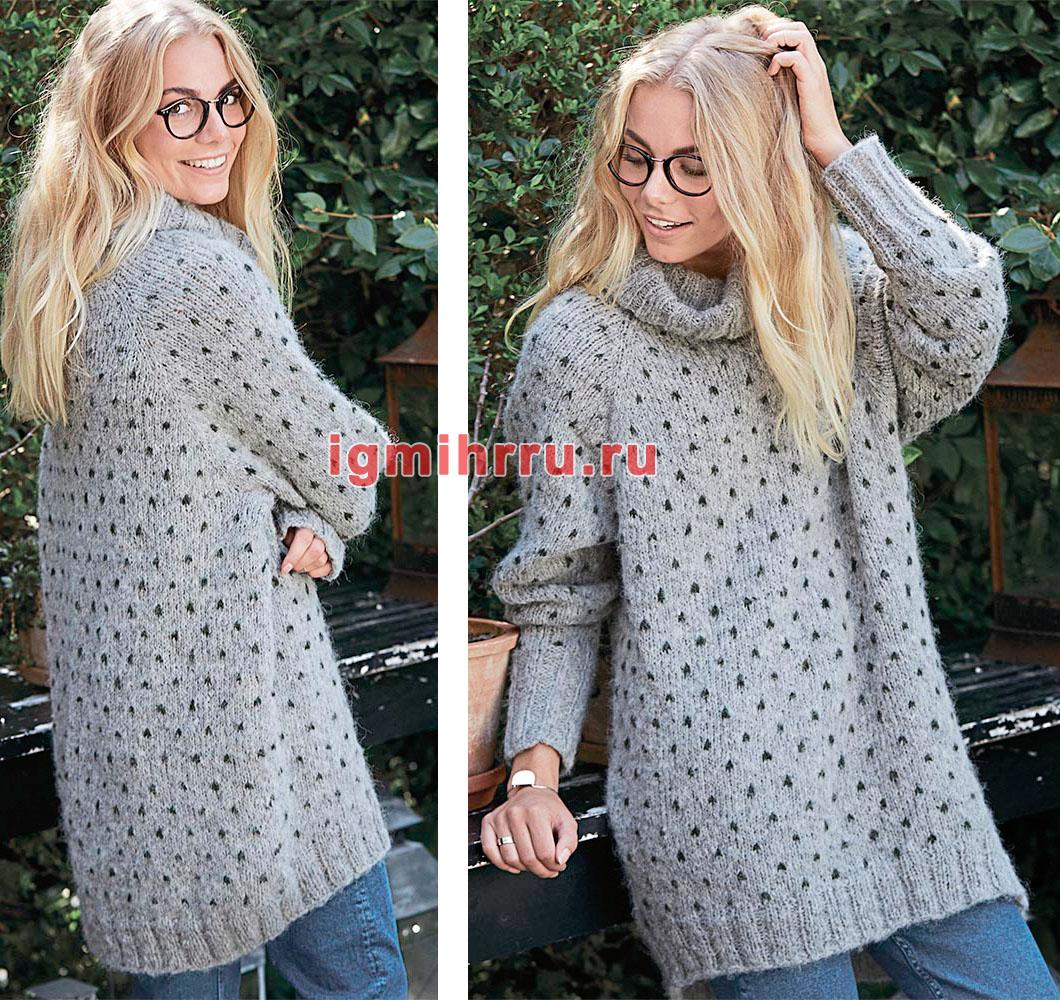 Длинный свитер с узором в мелкий горошек. Вязание спицами