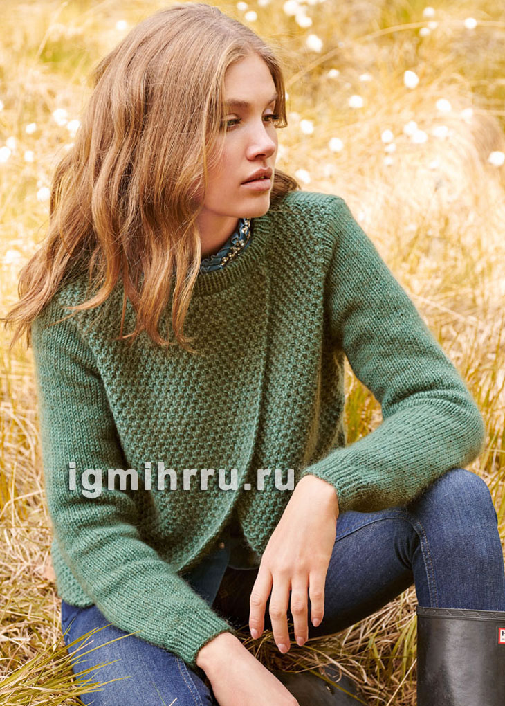 Зеленый пуловер/жакет асимметричного кроя. Вязание спицами