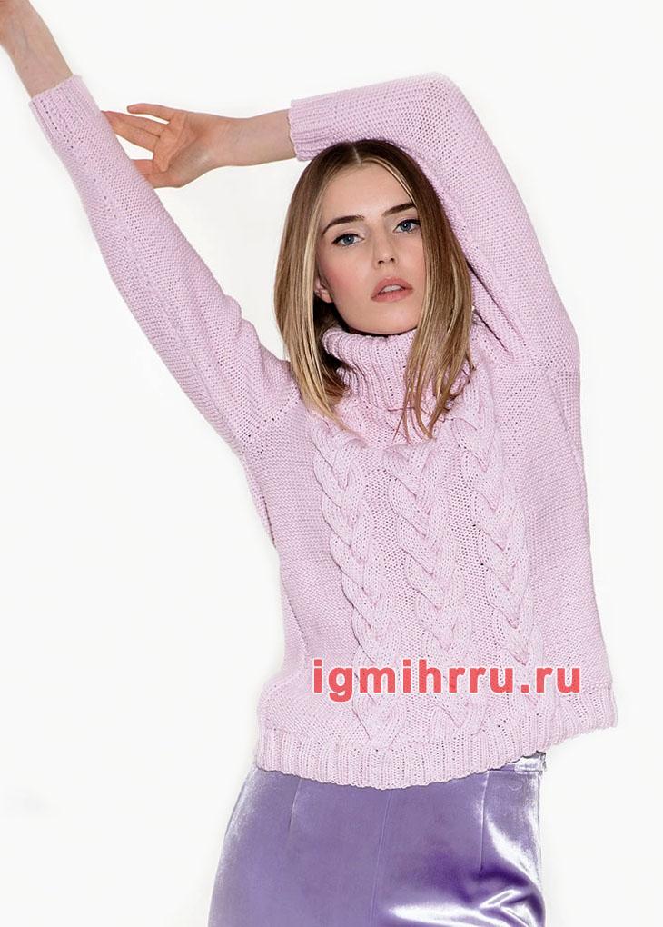 Легкий сиреневый свитер с косами. Вязание спицами