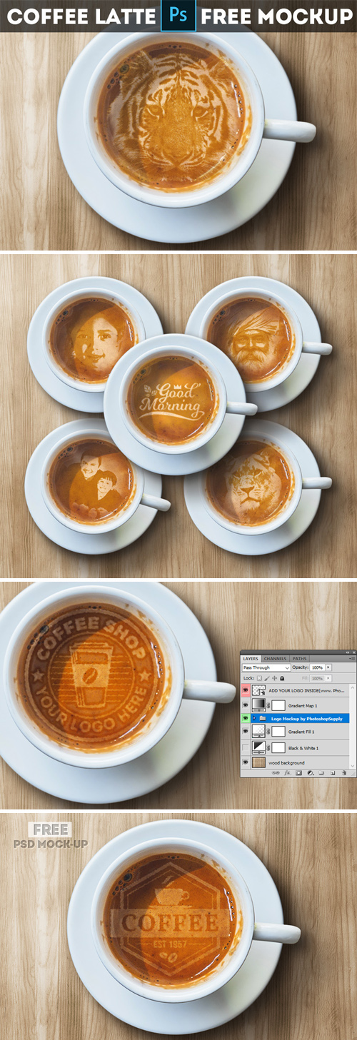 Coffee Latte Art Photoshop Mockup
