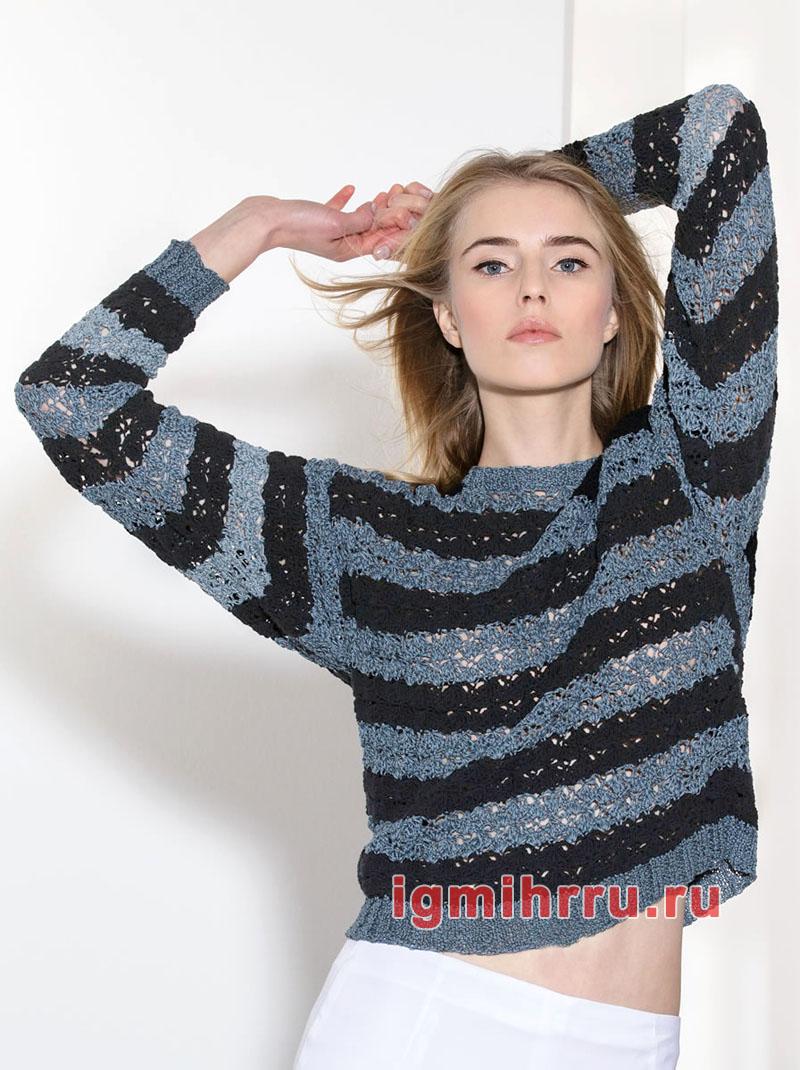 Легкий ажурный пуловер в полоску. Вязание крючком