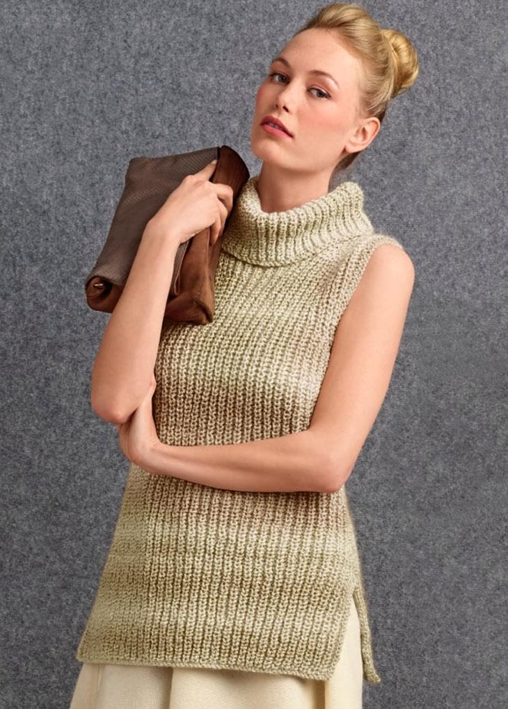 Разнообразим будни! Легкий свитер без рукавов жемчужной резинкой. Вязание спицами