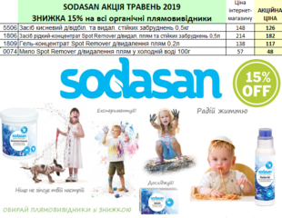 ЗНИЖКА на органічні засоби для виведення плям SODASAN!