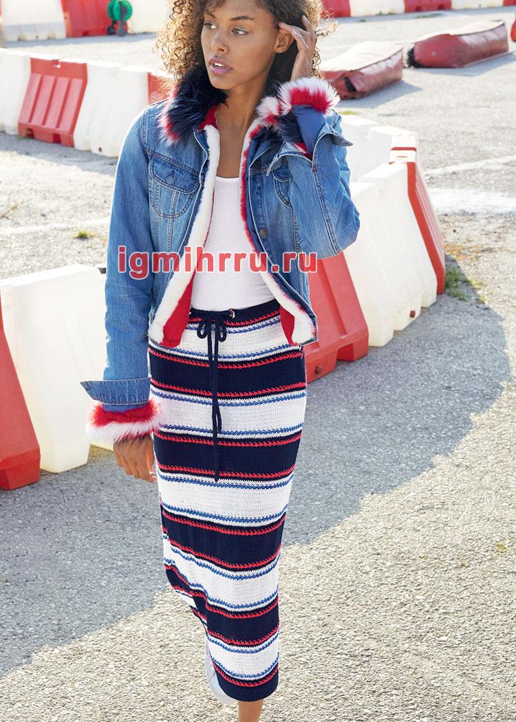 Длинная юбка в полоску. Вязание спицами