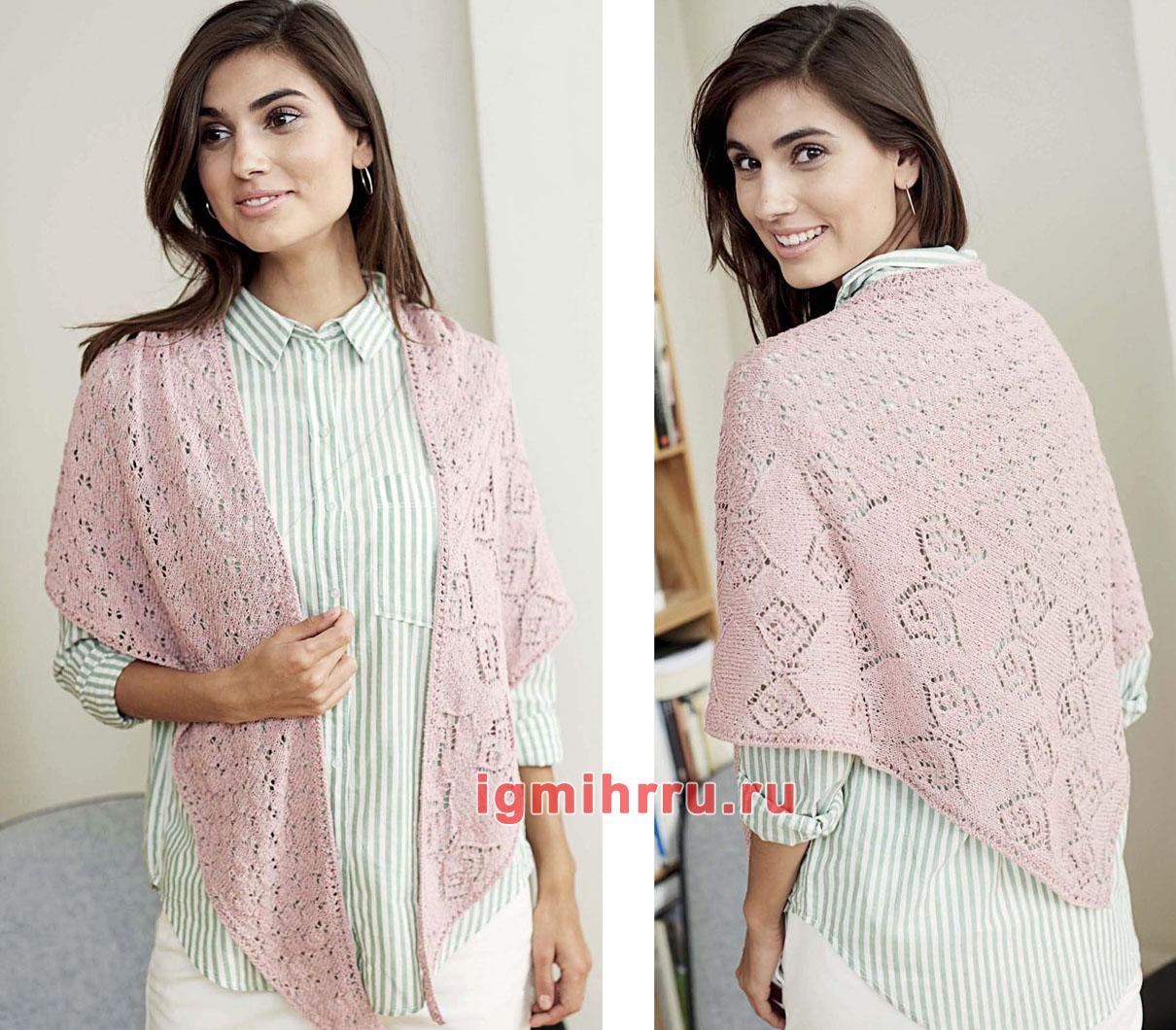 Розовая шелковая шаль с ажурными узорами. Вязание спицами
