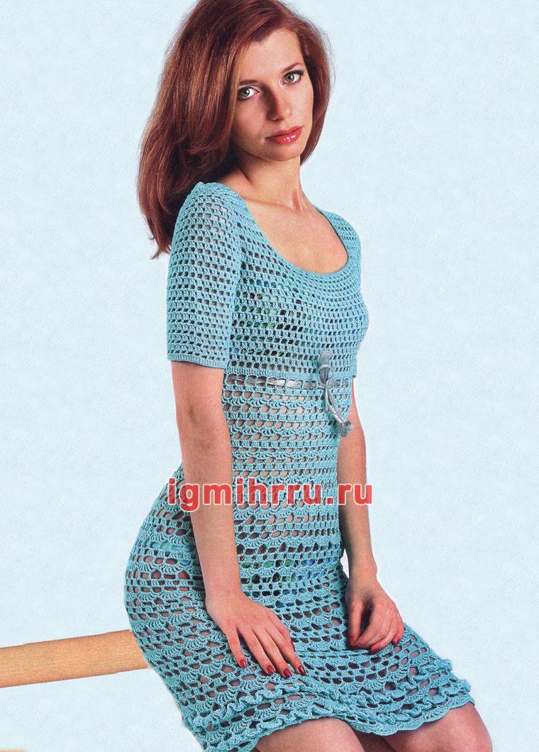 Бирюзовое ажурное платье. Вязание крючком