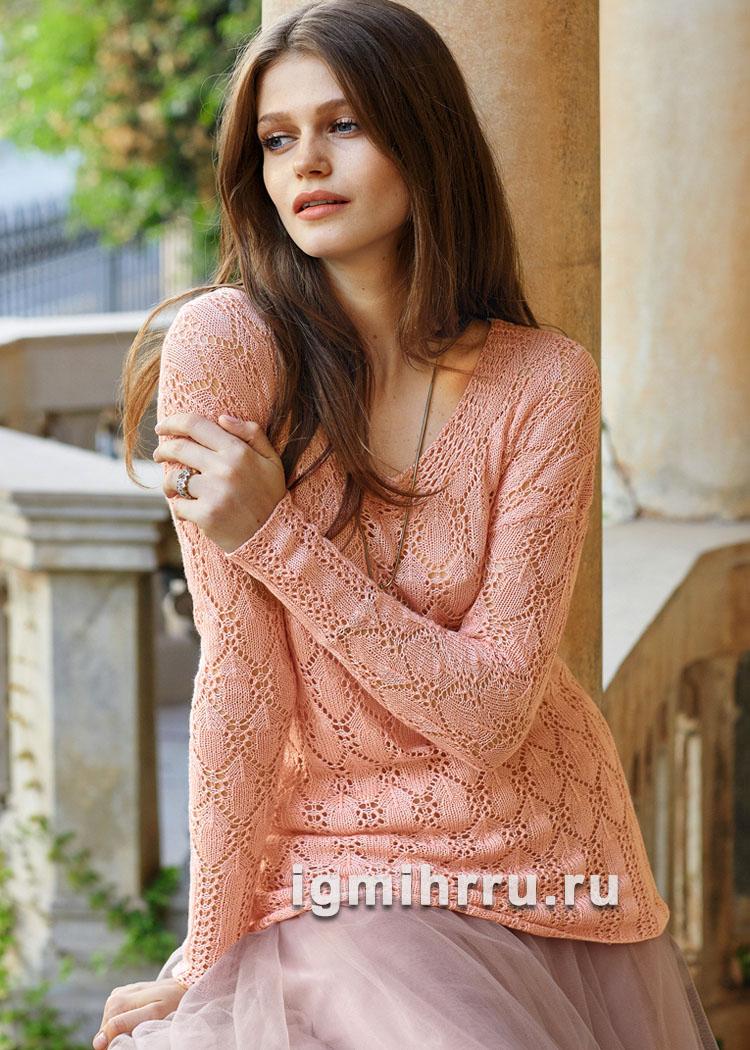 Ажурный пуловер с заниженными проймами. Вязание спицами