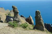 Скалы - формы эрозии вулканических пород на уч-ке Хоба-Тепе. Фото Морошкина В.В.