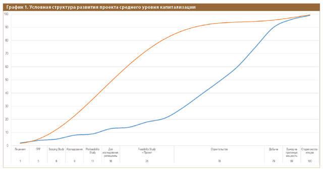 График 1. Условная структура развития проекта среднего уровня капитализации