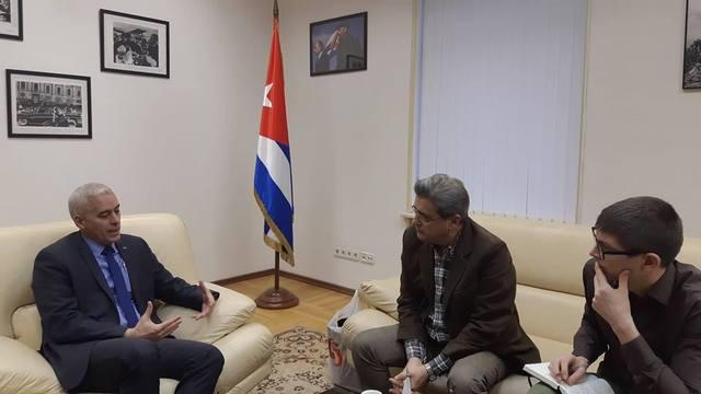 """Посол Кубы в России дал интервью новостному агентству """"Спутник""""."""