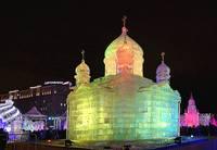 Ледяная модель храма Христа-Спасителя в Парке Победы. Фот Морошкина В.В.