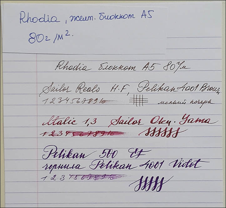 Papers test. Rhodia Yellow notebook A5 80gsm. Lenskiy.org