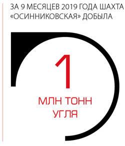 """За 9 месяцев 2019 года шахта """"Осинниковская"""" добыла 1 миллион тонн угля"""