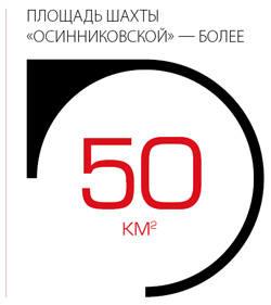 """Площадь шахты """"Осинниковской"""" - более 50 квадратных километра."""
