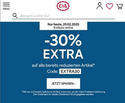 C&A промокод. Скидка 30% на SALE