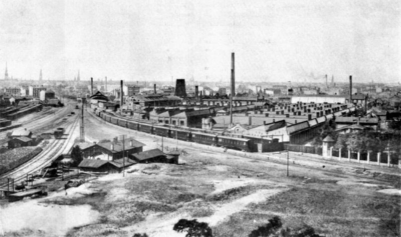 Общий вид на «Русско-Балтийский вагонный завод», 1909 г.