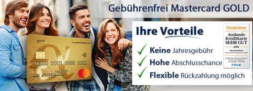 Gebuhrenfreie Mastercard Gold. Бесплатная кредитная карта