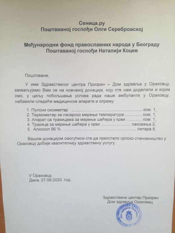 Косово, помощь, лекарства, Ораховац, Велика Хоча