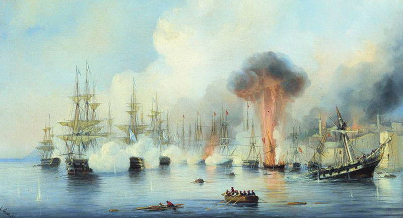 Синопский бой 18 ноября 1853 года. Художник Алексей Боголюбов