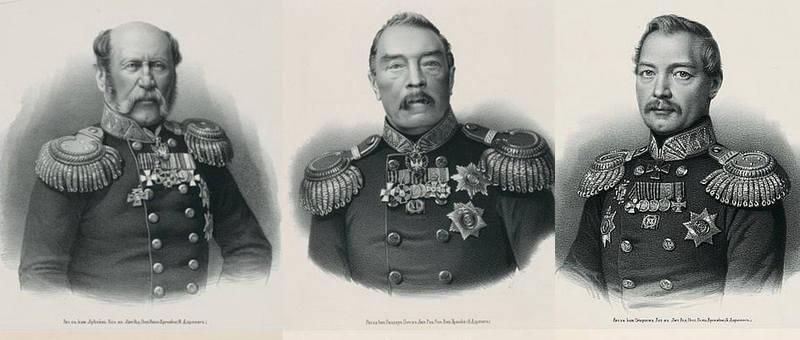 Русские генералы (слева направо): О.А.Квицинский, П.Д. Горчаков и В.Я.Кирьяков