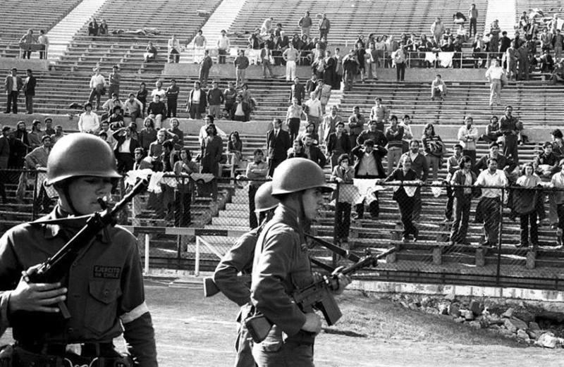 Жертвы режима Пиночета на стадионе в Сантьяго (Чили)