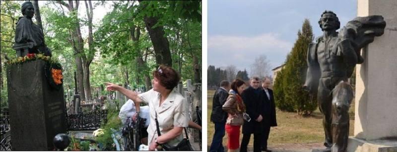 Покалеченные памятники Леси Украинки и Ивану Франко